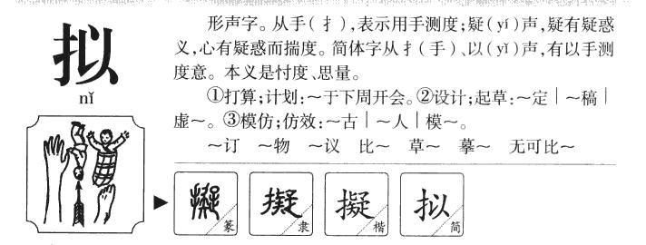 拟的部首|拟的拼音|拟的组词|拟的意思 - 查字典